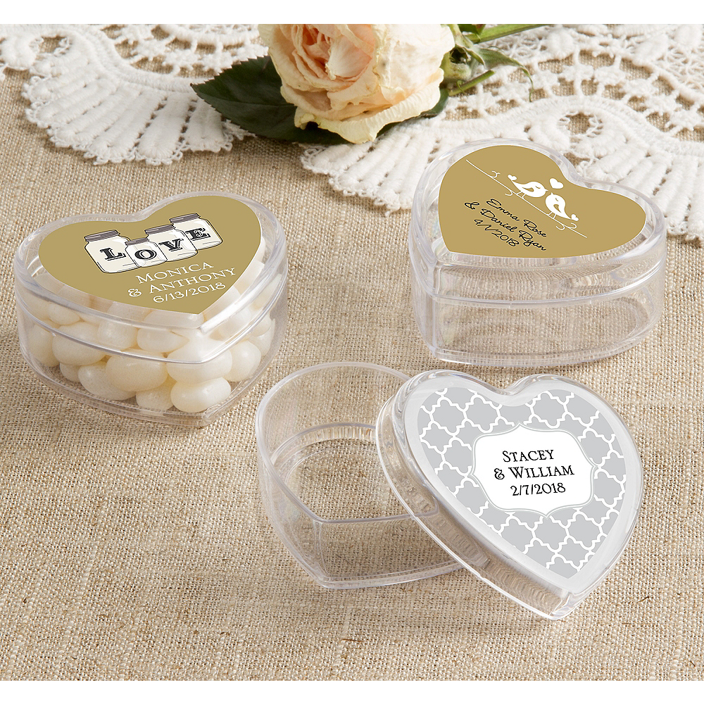 Personalized Heart-Shaped Clear Plastic Favor Boxes 12ct   Party City