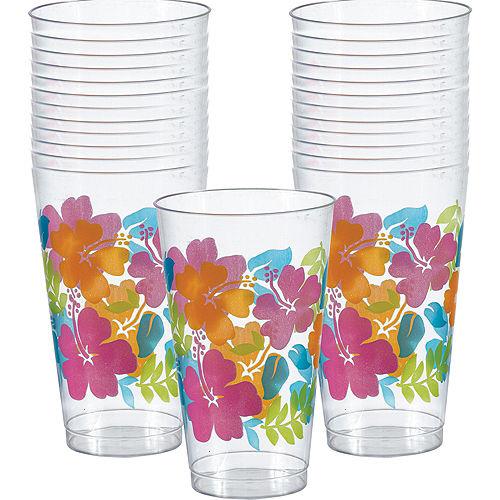 Hibiscus Plastic Tumblers 25ct Image #1