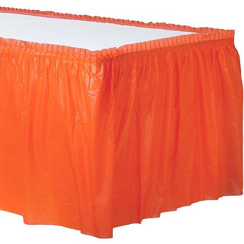 Orange Plastic Table Skirt Image #1