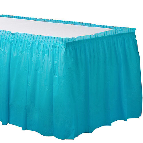 Caribbean Blue Plastic Table Skirt Image #1
