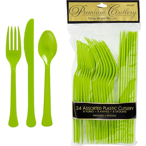 Kiwi Green Premium Plastic Cutlery Set 24ct Image #1