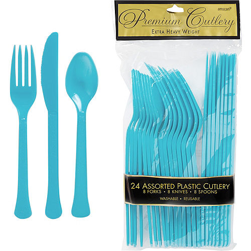 Caribbean Blue Premium Plastic Cutlery Set 24ct Image #1