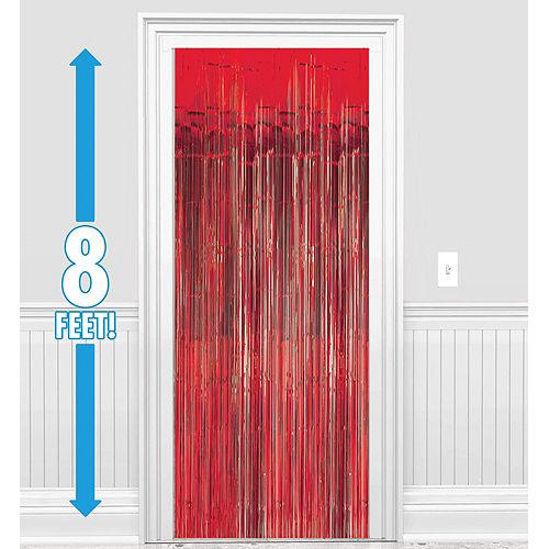 Red Fringe Doorway Curtain, 3ft x 8ft Image #1