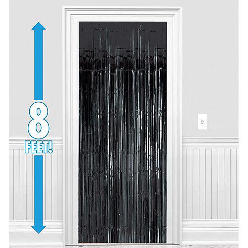 Black Foil Fringe Doorway Curtain, 3ft x 8ft Image #1