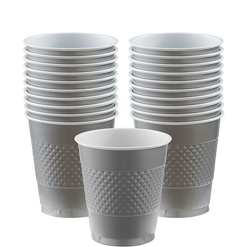 Silver Plastic Cups 20ct Image #1