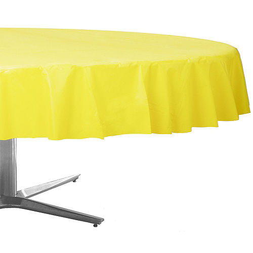 Light Yellow Plastic Round Table Cover Image #1