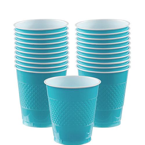 Caribbean Blue Plastic Cups 20ct Image #1