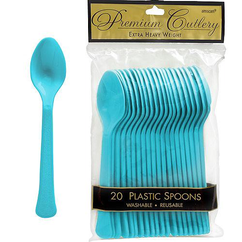 Caribbean Blue Premium Plastic Spoons 20ct Image #1