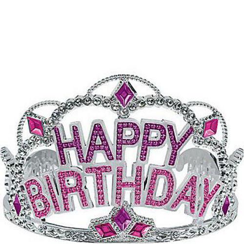 Pink Rhinestone Happy Birthday Tiara Image #1