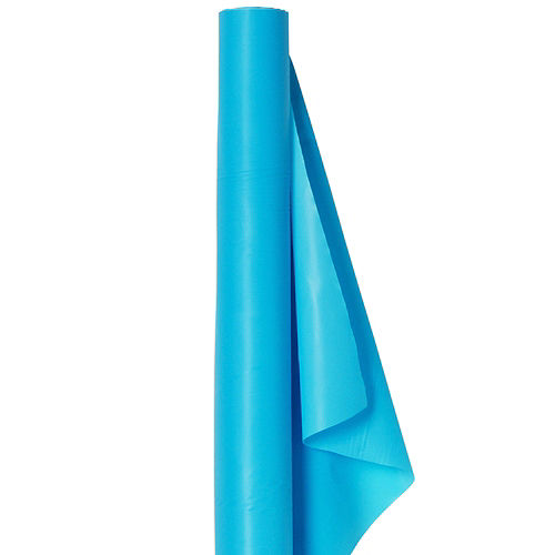 Caribbean Blue Plastic Table Cover Roll Image #1