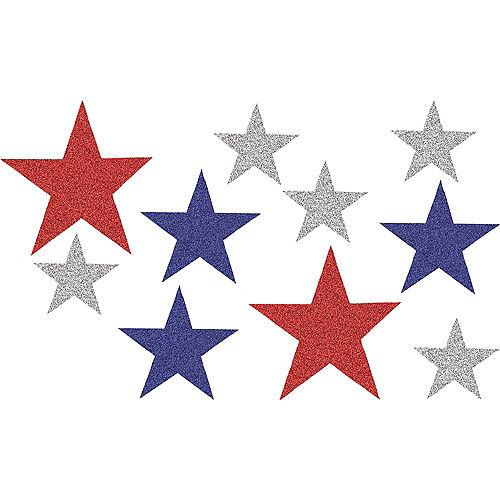 Glitter Patriotic Red, Silver & Blue Star Cutouts 10ct Image #1