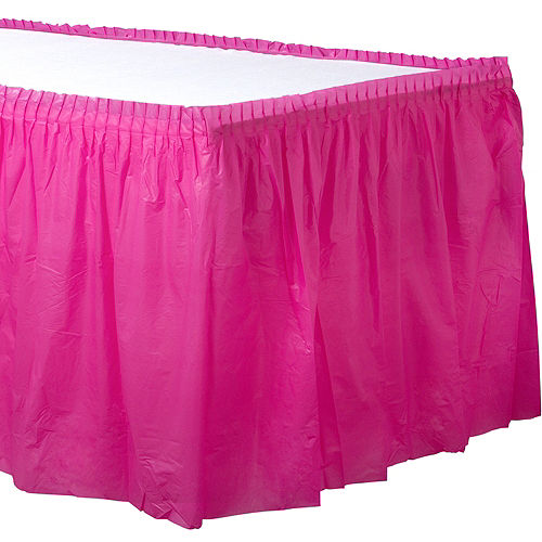 Bright Pink Plastic Table Skirt Image #1