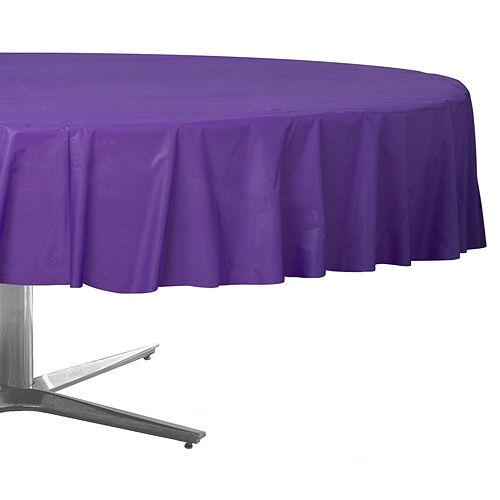 Purple Plastic Round Table Cover Image #1