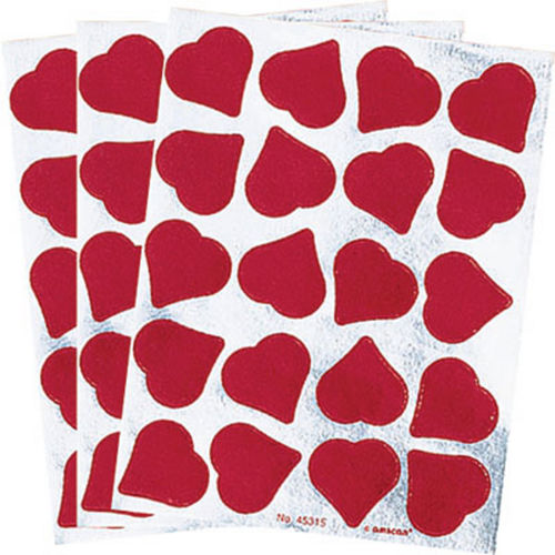 Foil Red Heart Stickers 3 Sheets Image #1