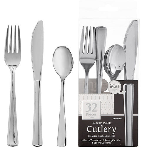 Silver Plastic Cutlery Set 32ct Image #1