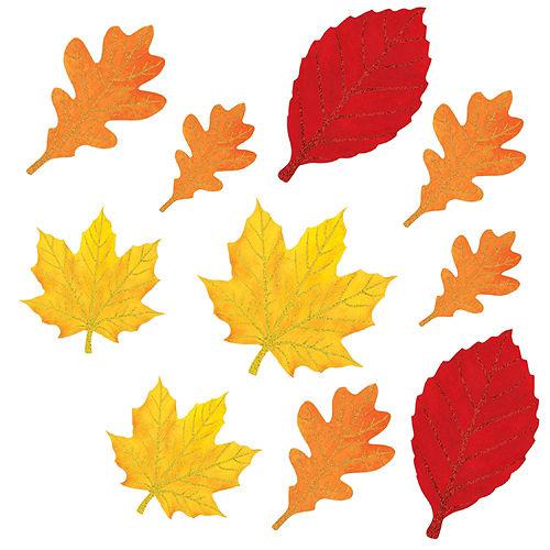 Glitter Autumn Leaves Cutouts 10ct Image #1