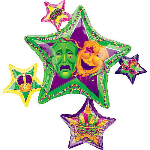 Mardi Gras Balloon - Stars, 35in Image #1