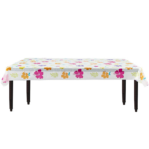 Hibiscus White Plastic Table Cover Roll Image #2
