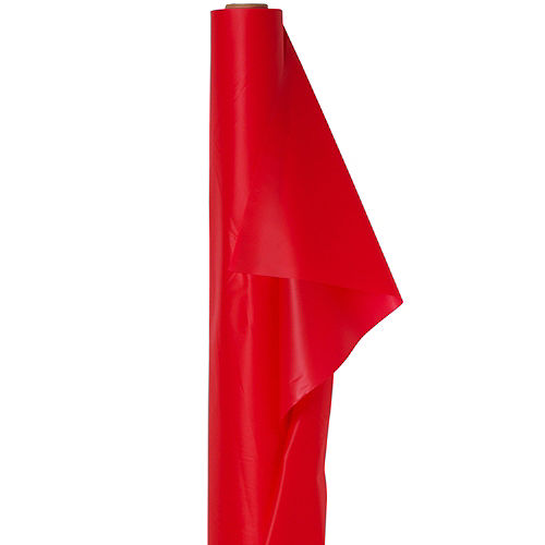 Extra-Long Red Plastic Table Cover Roll Image #1