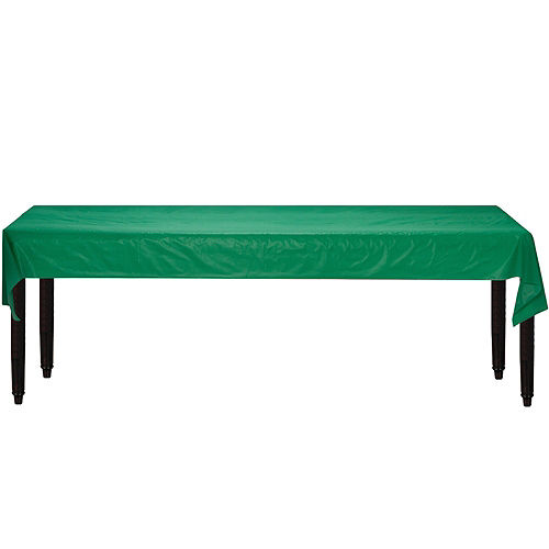 Extra-Long Festive Green Plastic Table Cover Roll, 40in x 250ft Image #2