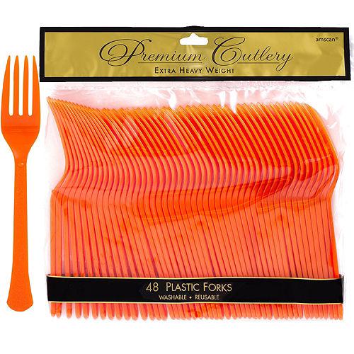 Orange Premium Plastic Forks 48ct Image #1