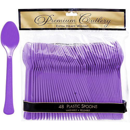 Purple Premium Plastic Spoons 48ct Image #1