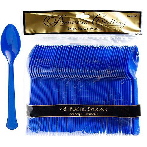 Royal Blue Premium Plastic Spoons 48ct Image #1