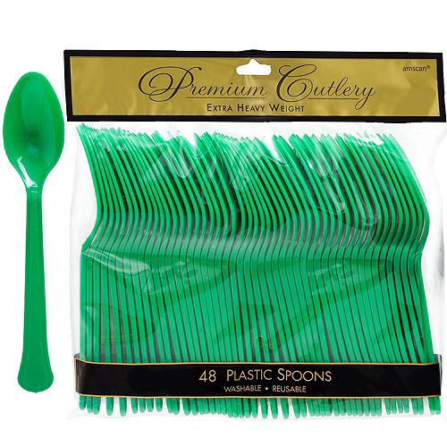 Festive Green Premium Plastic Spoons 48ct Image #1