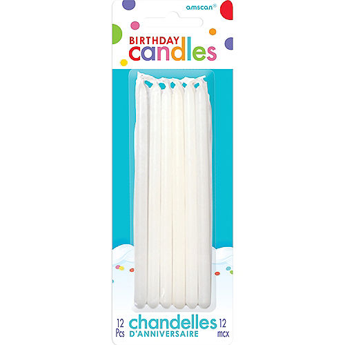 Tall White Birthday Candles 12ct Image #1
