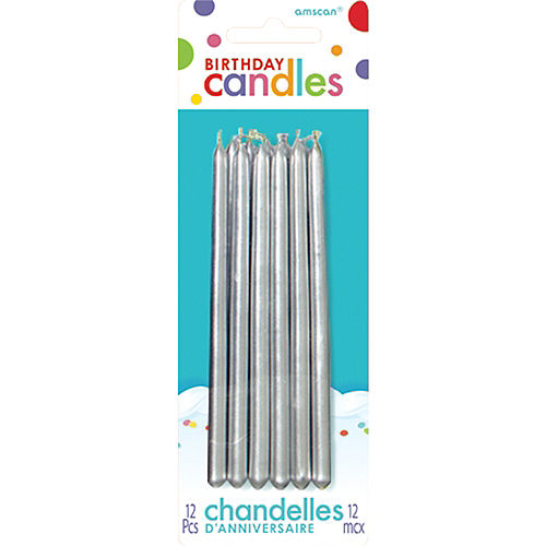 Tall Silver Birthday Candles 12ct Image #1