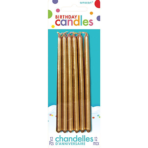 Tall Gold Birthday Candles 12ct Image #1