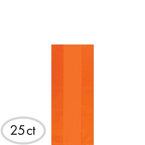 Small Orange Plastic Treat Bags 25ct Image #1
