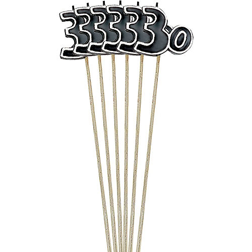 Black Number 30 Birthday Toothpick Candles 6ct Image #1