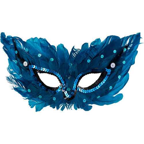 Blue Sequin Feather Masquerade Mask Image #1