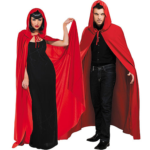 Adult Red Hooded Cape Image #1