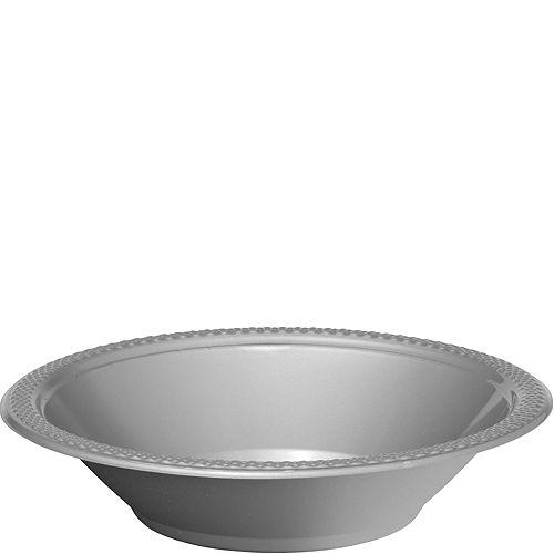 Silver Plastic Bowls 20ct Image #1