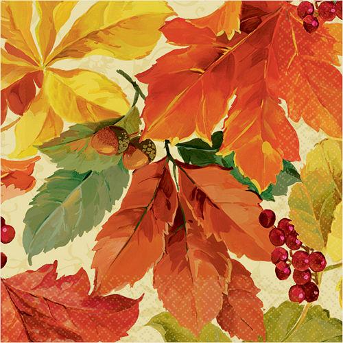 Elegant Leaves Beverage Napkins 16ct Image #1
