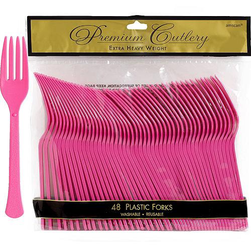 Bright Pink Premium Plastic Forks 48ct Image #1