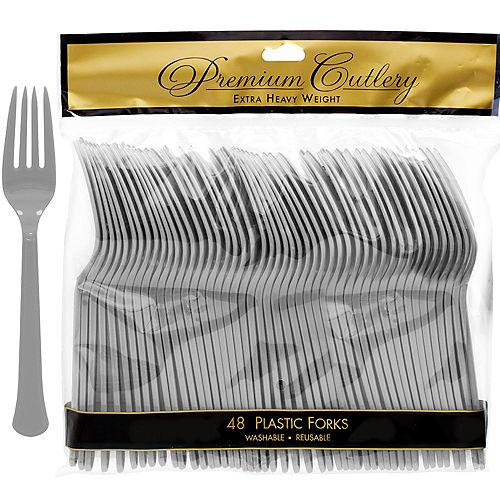 Silver Premium Plastic Forks 48ct Image #1