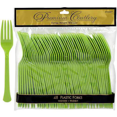 Kiwi Green Premium Plastic Forks 48ct Image #1