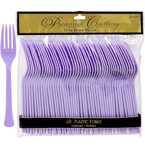 Lavender Premium Plastic Forks 48ct Image #1