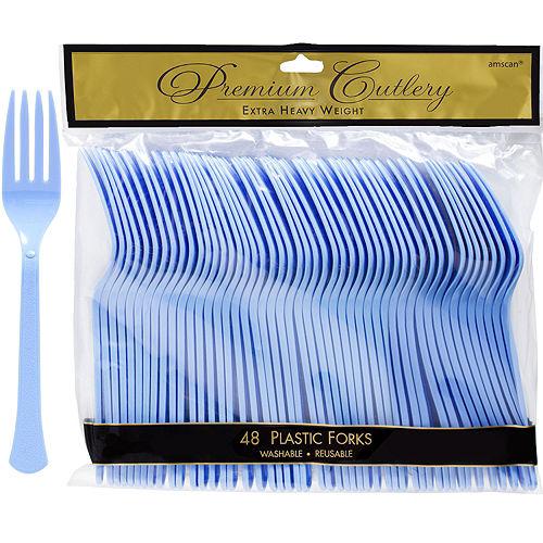 Pastel Blue Premium Plastic Forks 48ct Image #1