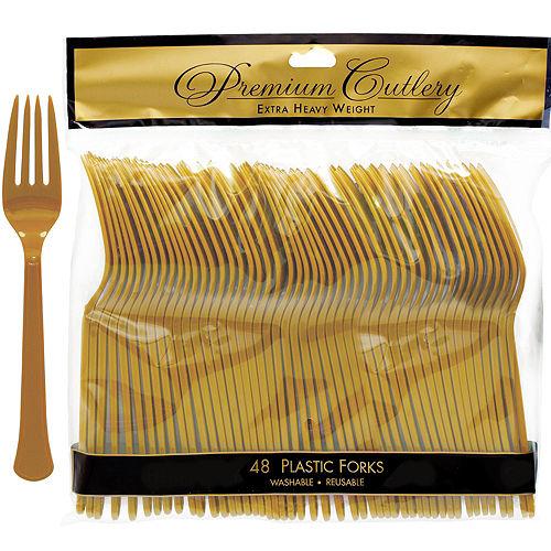 Gold Premium Plastic Forks 48ct Image #1
