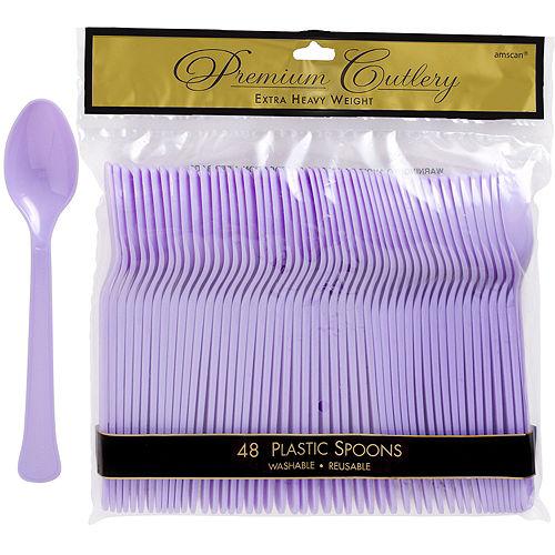 Lavender Premium Plastic Spoons 48ct Image #1