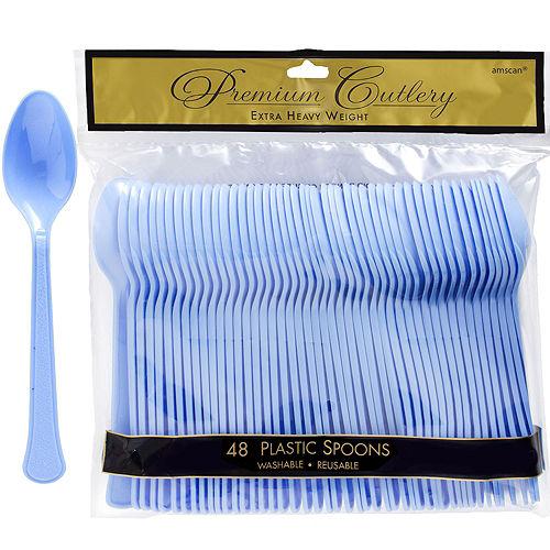 Pastel Blue Premium Plastic Spoons 48ct Image #1