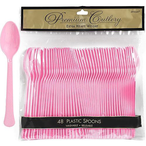 Pink Premium Plastic Spoons 48ct Image #1
