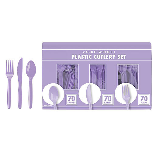 Big Party Pack Lavender Value Plastic Cutlery Set 210ct Image #1