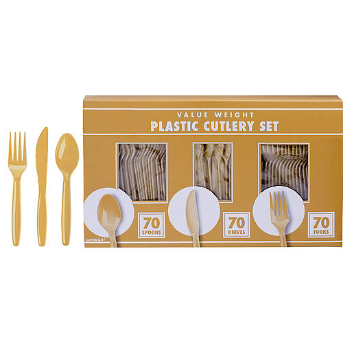 Big Party Pack Gold Value Plastic Cutlery Set 210ct Image #1
