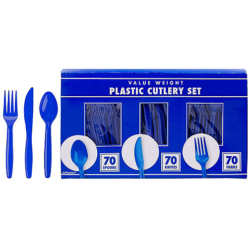 Big Party Pack Royal Blue Value Plastic Cutlery Set 210ct Image #1