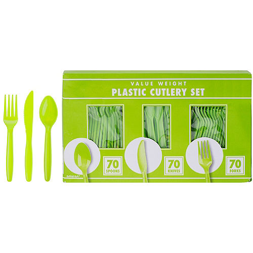 Big Party Pack Kiwi Green Value Plastic Cutlery Set 210ct Image #1
